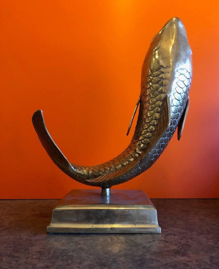 Mid-Century Modern Solid Brass Koi Fish on Base Sculpture or Vase For Sale