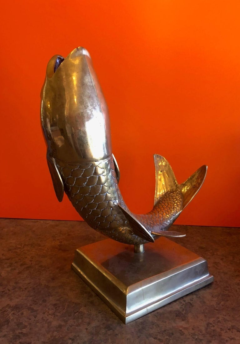 Solid Brass Koi Fish on Base Sculpture or Vase In Good Condition For Sale In San Diego, CA