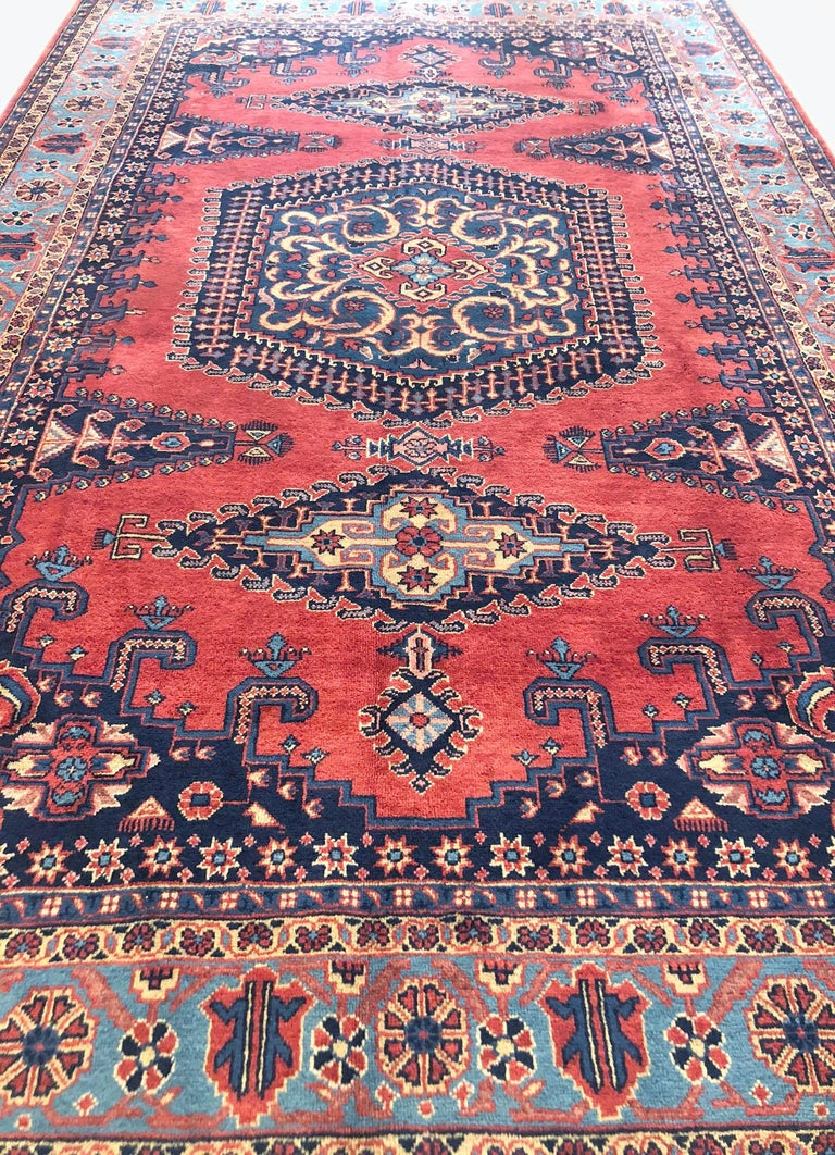 Tribal Persian Hand Knotted Geometric Red Blue Viss Rug For Sale