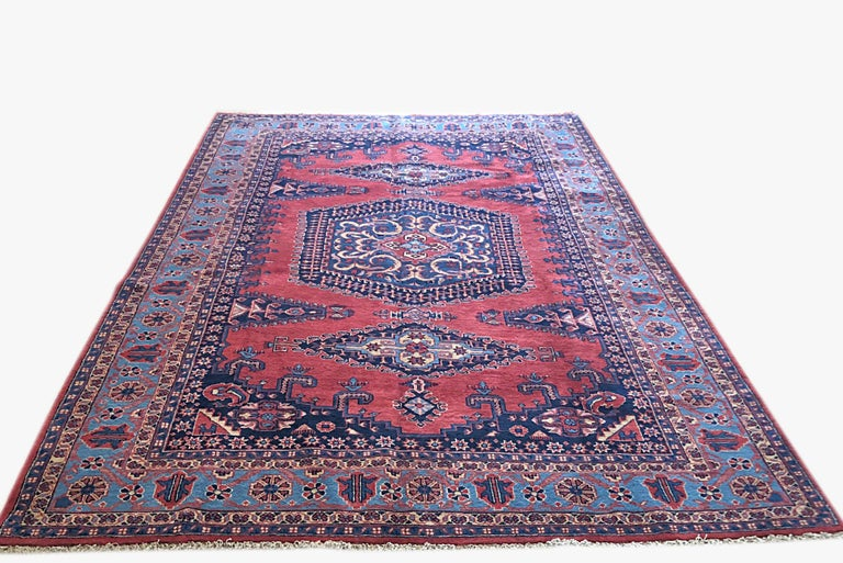 Hand-Knotted Persian Hand Knotted Geometric Red Blue Viss Rug For Sale