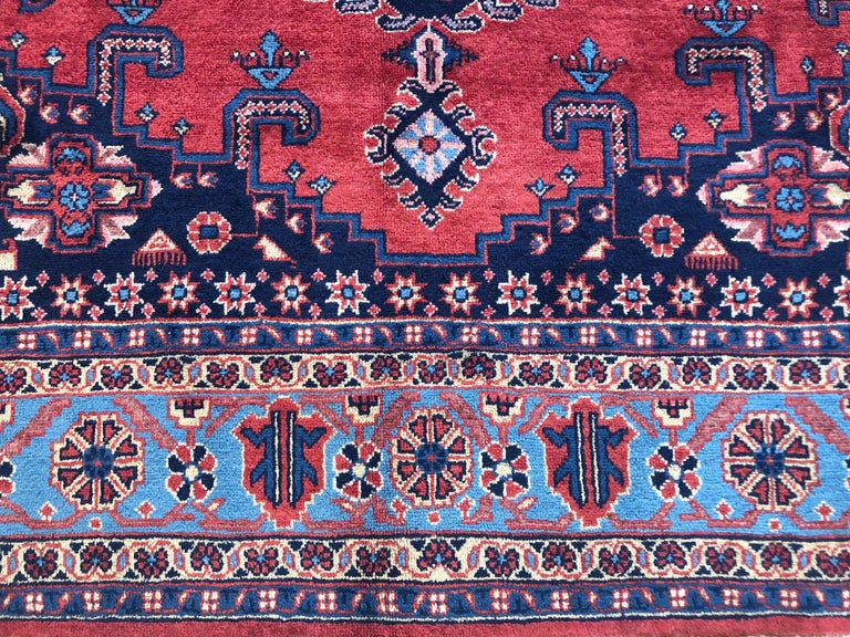 20th Century Persian Hand Knotted Geometric Red Blue Viss Rug For Sale