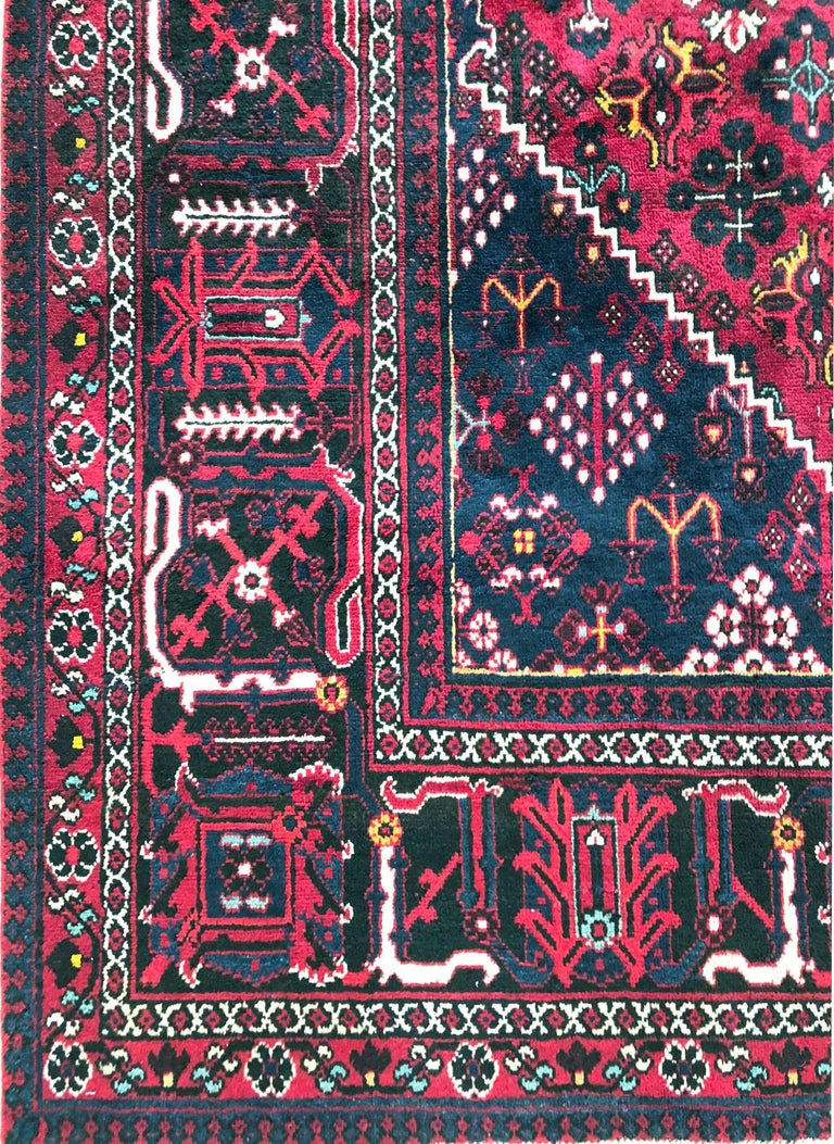 Persian Hand-Knotted Tribal Diamond Medallion Burgundy Joshaghan Rug In Excellent Condition For Sale In San Diego, CA