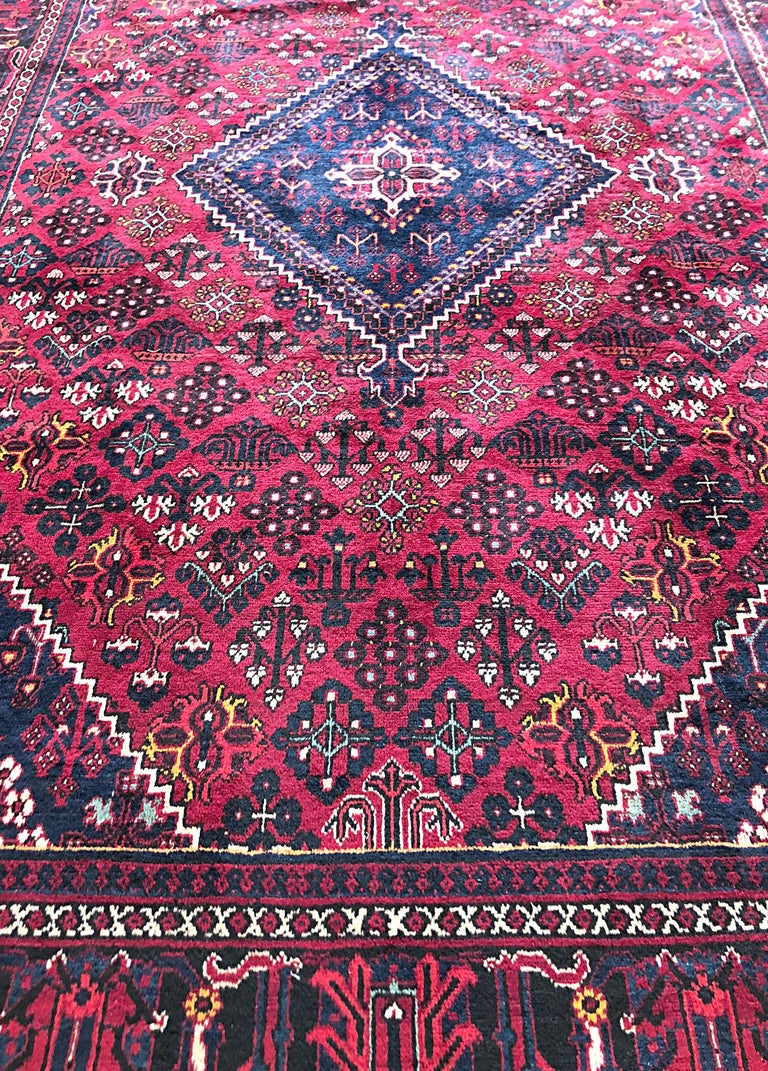 20th Century Persian Hand-Knotted Tribal Diamond Medallion Burgundy Joshaghan Rug For Sale