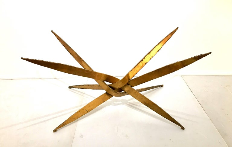 Brutalist Striking Brutal Dining Table Torch Cut Steel in Gold Leaf Finish For Sale