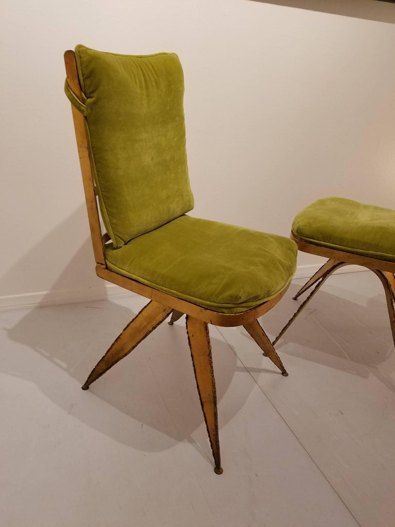 American Striking Brutal Dining Chairs Set of Six Torch Cut Steel in Gold Leaf Finish For Sale