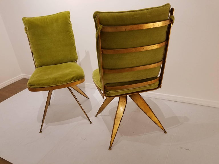 Striking Brutal Dining Chairs Set of Six Torch Cut Steel in Gold Leaf Finish In Excellent Condition For Sale In San Diego, CA
