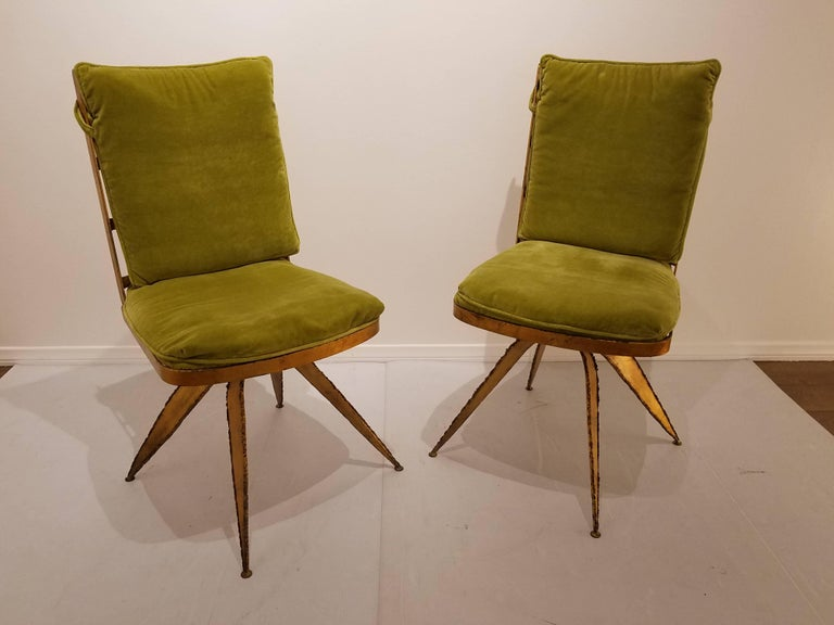 20th Century Striking Brutal Dining Chairs Set of Six Torch Cut Steel in Gold Leaf Finish For Sale