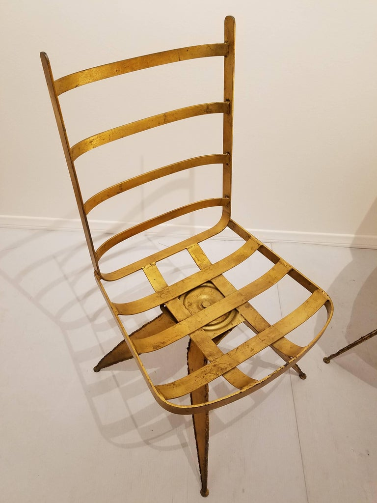 Striking Brutal Dining Chairs Set of Six Torch Cut Steel in Gold Leaf Finish For Sale 1