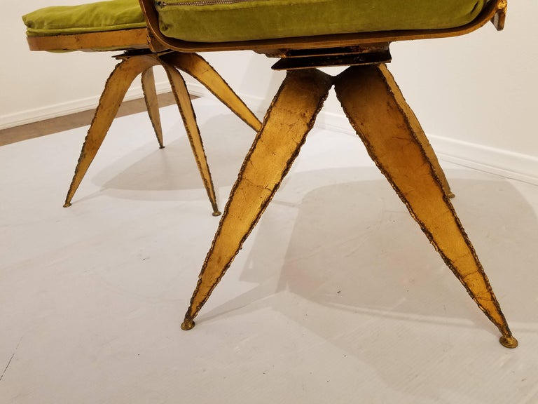 Striking Brutal Dining Chairs Set of Six Torch Cut Steel in Gold Leaf Finish For Sale 2
