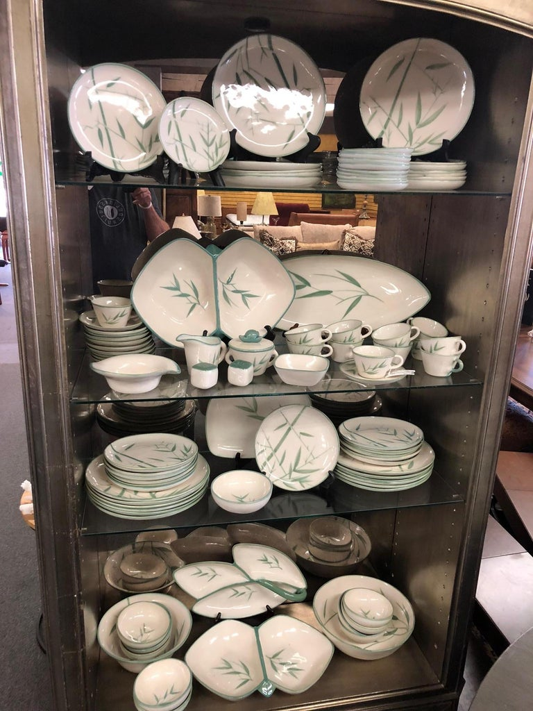 Pottery Collection of Winfield California Green Bamboo Dinnerware For Sale