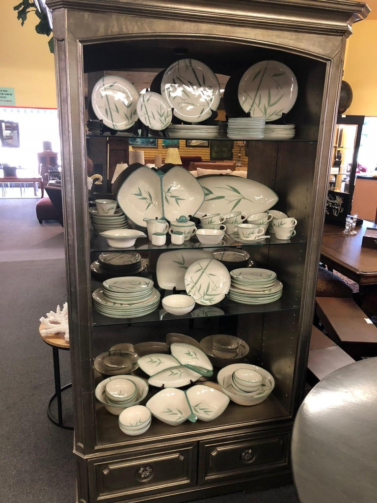 Mid-Century Modern Collection of Winfield California Green Bamboo Dinnerware For Sale