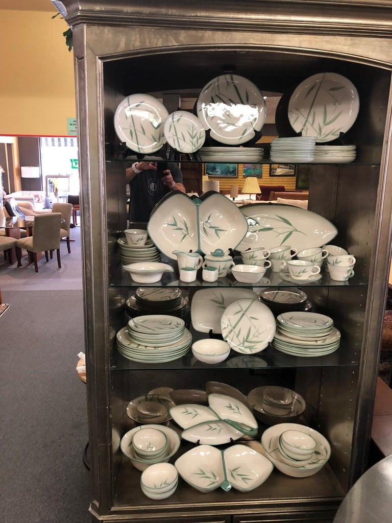 Collection of Winfield California Green Bamboo Dinnerware For Sale 5