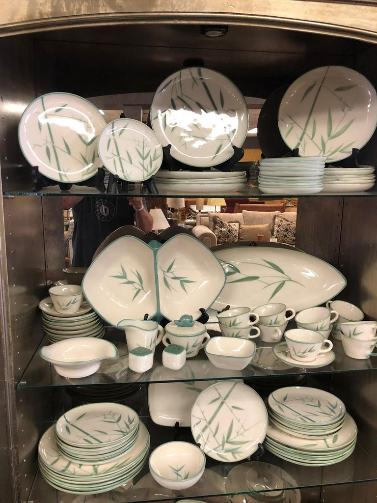 Collection of Winfield California Green Bamboo Dinnerware For Sale 3