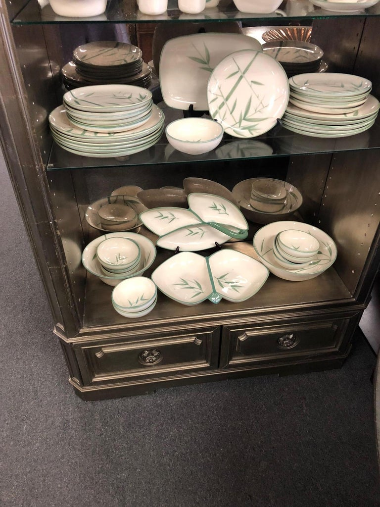 Collection of Winfield California Green Bamboo Dinnerware For Sale 4