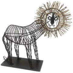 Whimsical Metal Wire Lion Sculpture Unsigned in the Style of C. Jere