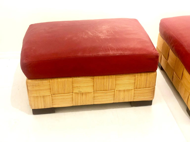 John Hutton for Donghia Pair of Wicker Ottomans in Red Leather For Sale 3