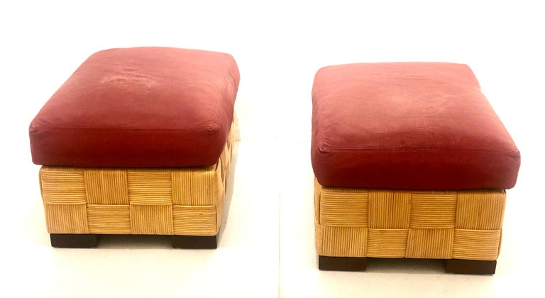 John Hutton for Donghia Pair of Wicker Ottomans in Red Leather For Sale 4