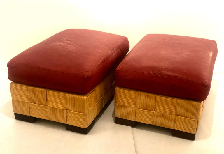 John Hutton for Donghia Pair of Wicker Ottomans in Red Leather For Sale 5