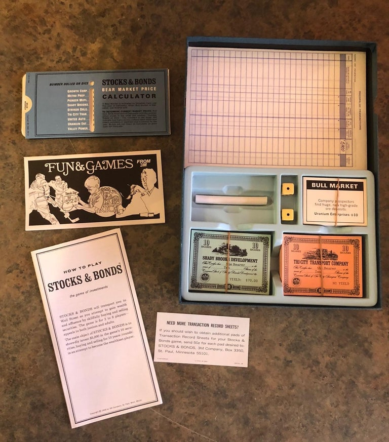 Mid-Century Modern Midcentury Stocks and Bonds Board Game by 3M For Sale