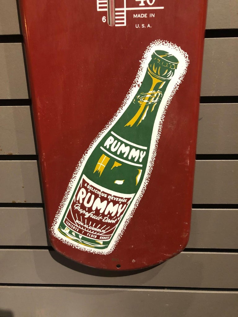 Rummy Grapefruit Soda Advertising Tin Thermometer Sign In Good Condition For Sale In San Diego, CA