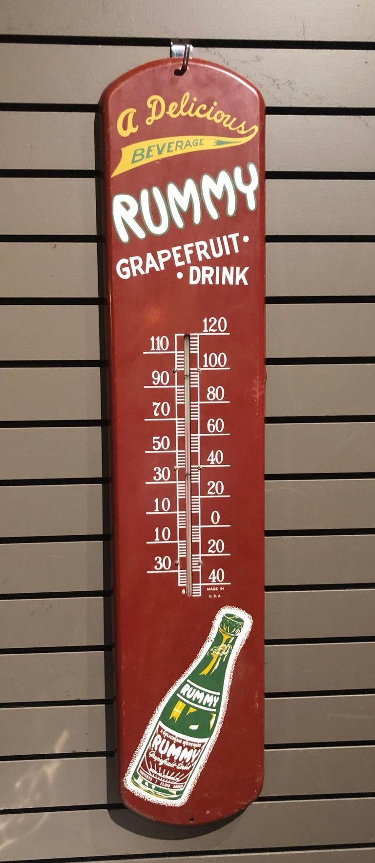 Rummy Grapefruit Soda Advertising Tin Thermometer Sign For Sale 4