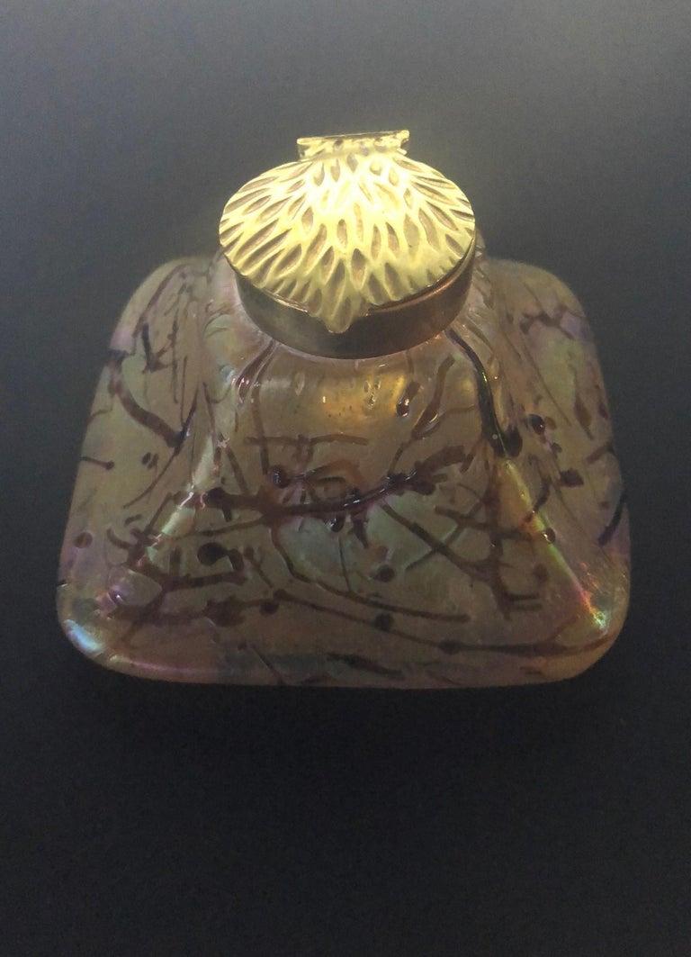 Iridescent Art Nouveau Art Glass Inkwell by Loetz For Sale 2