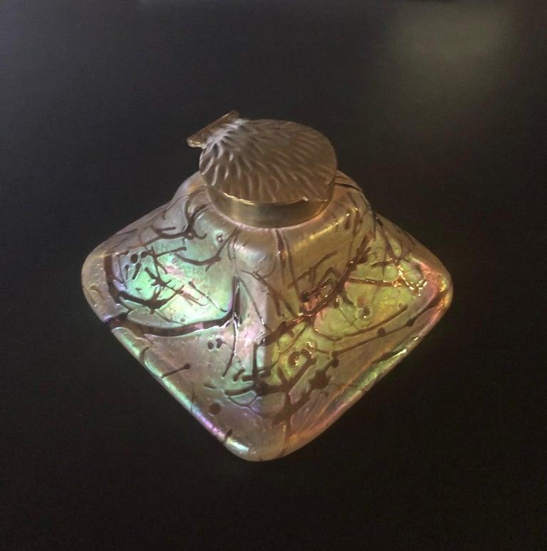 Czech Iridescent Art Nouveau Art Glass Inkwell by Loetz For Sale