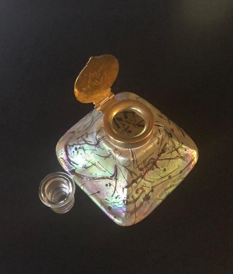 Iridescent Art Nouveau Art Glass Inkwell by Loetz For Sale 1