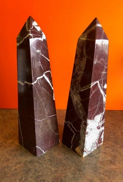 Pair of Solid Marble Decorative Obelisks