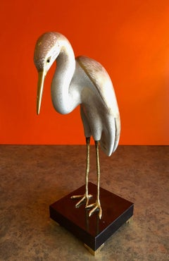 Hand-Painted Stylized Stork Sculpture by Giulia Mangani for Oggetti