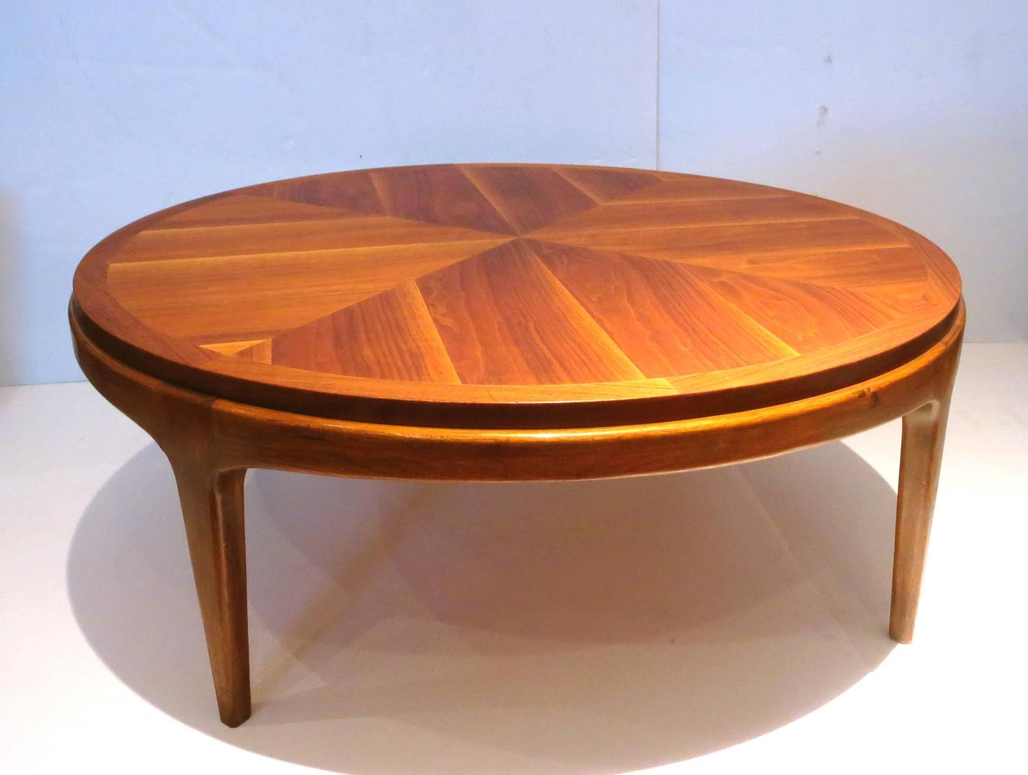 1950s american modern mid century walnut round coffee for Modern furniture coffee table