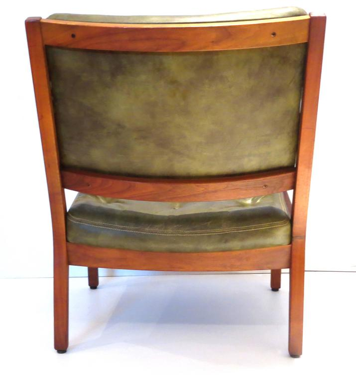 1950s American Modern Solid Walnut and Leather Wide