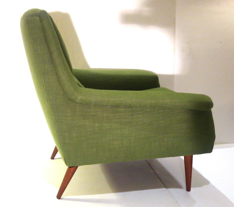 Bon 1950s Danish Modern Dux Kelly Green Upholstered Lounge Chair At 1stdibs