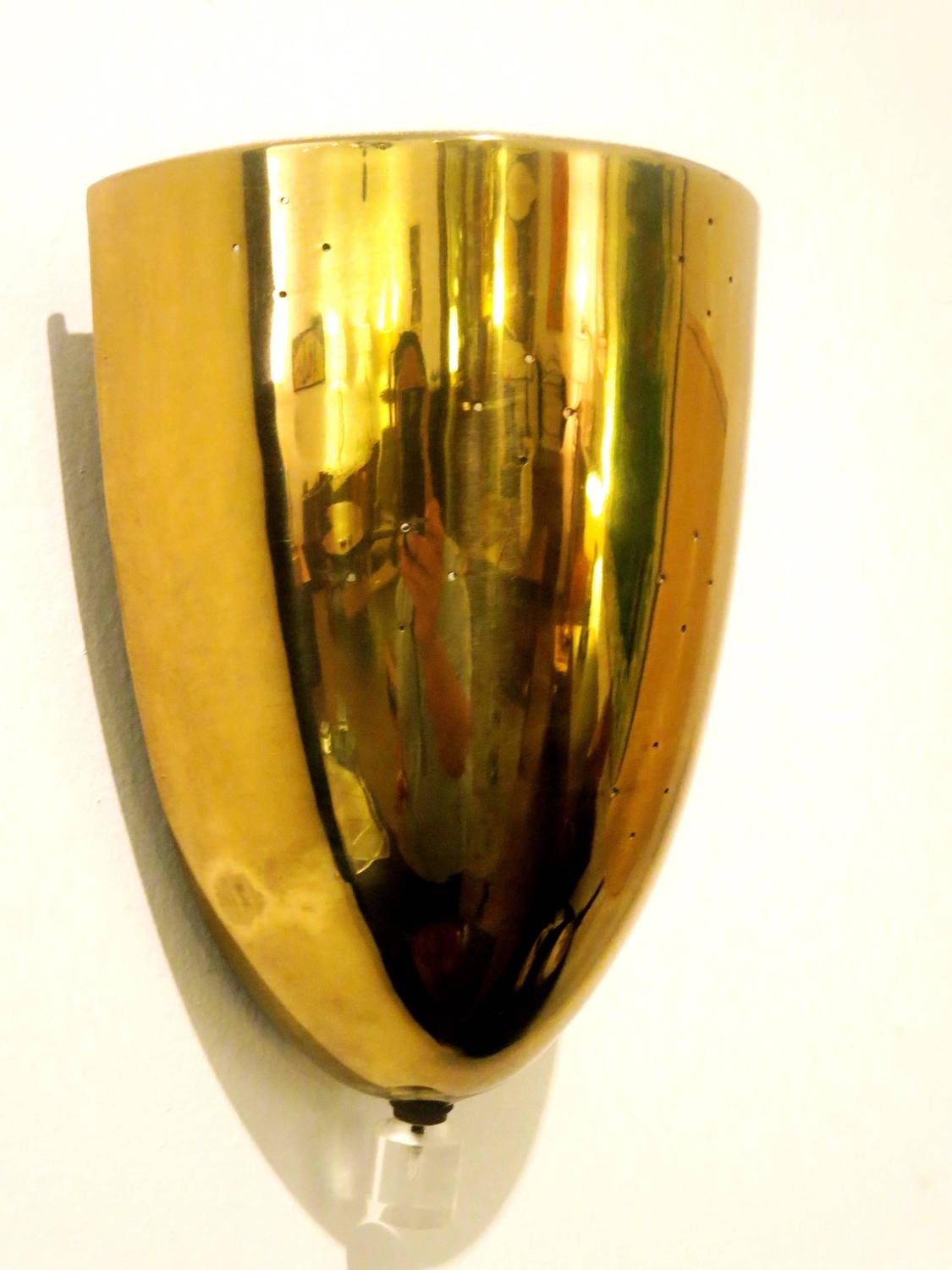 Brass Wall Sconce With Switch : 1950s Perforated Brass with Lucite Switch Bullet Shape Wall Sconce For Sale at 1stdibs
