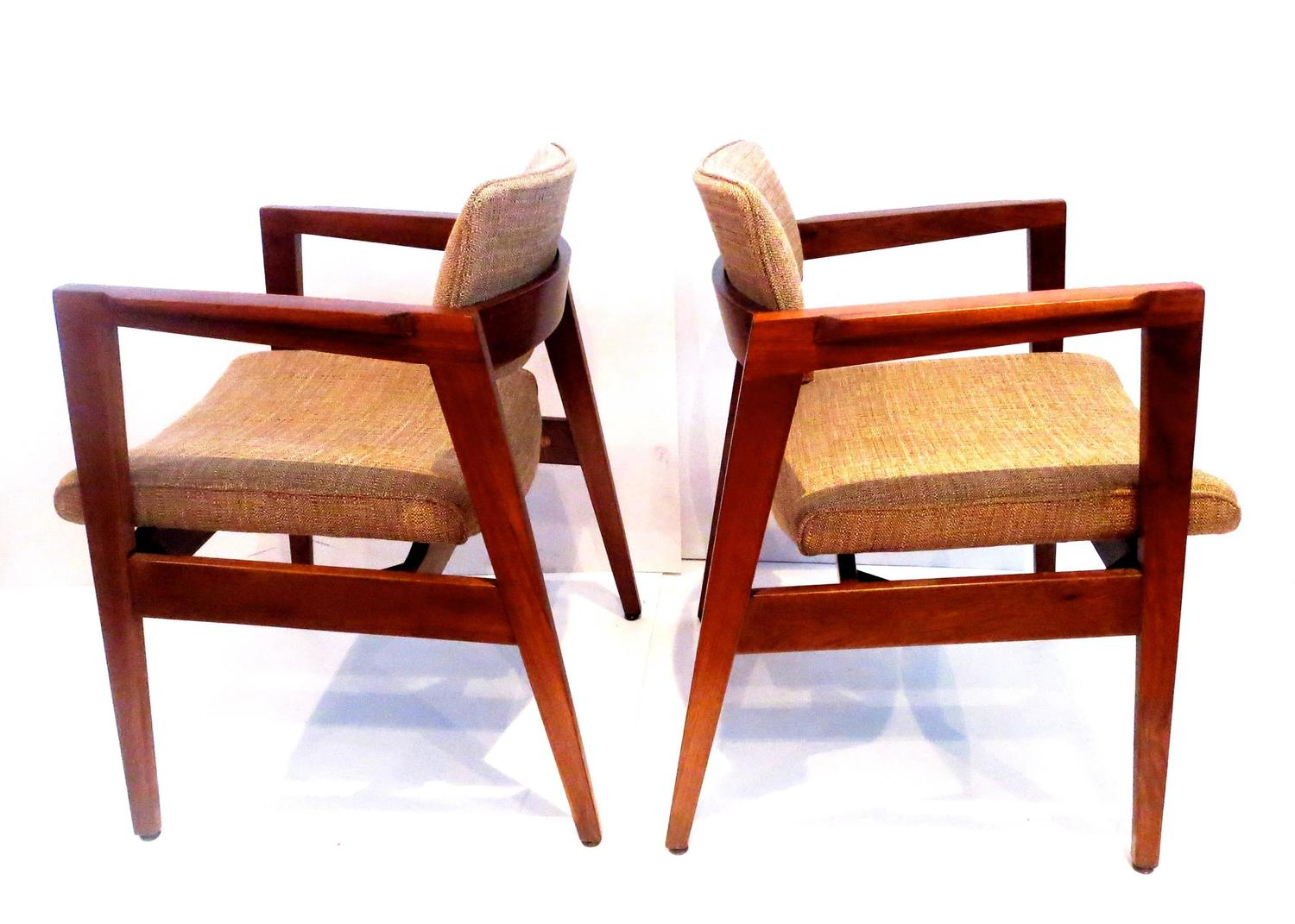 1950s American Modern solid Walnut Pair of Armchairs by
