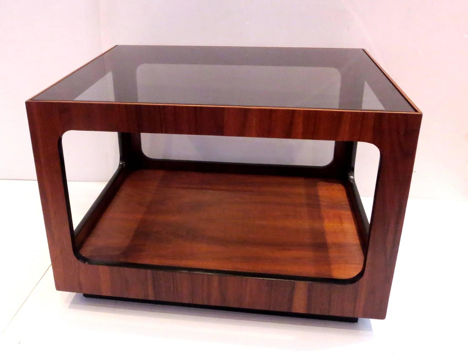 1970s California Modern Smoked Glass Walnut Cocktail Table