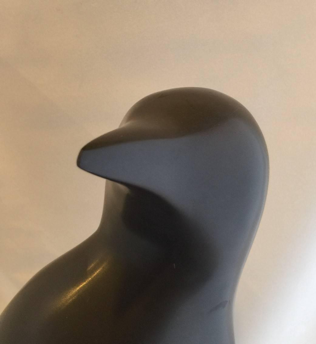Solid Black Marble Modernist Penguin Sculpture By Japanese
