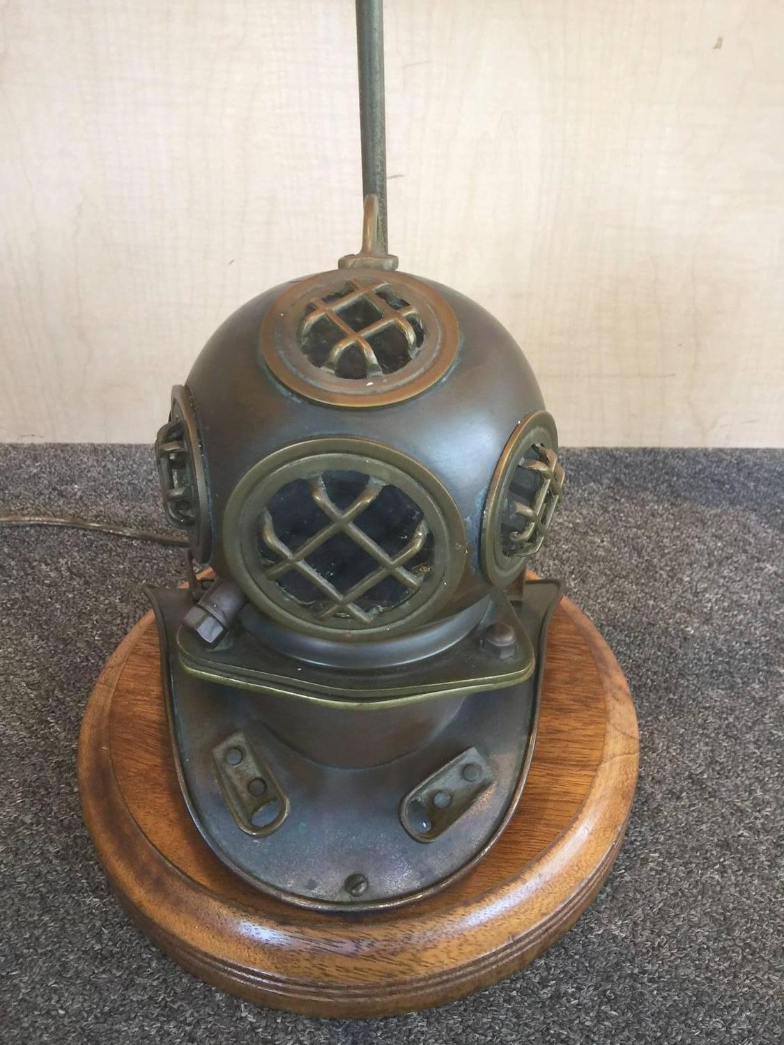 very eclectic vintage nautical lamp with a brass divers helmet as the. Black Bedroom Furniture Sets. Home Design Ideas