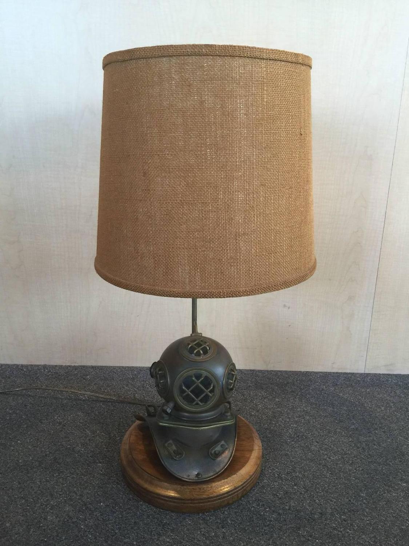 vintage nautical lamp with brass divers helmet for sale at 1stdibs. Black Bedroom Furniture Sets. Home Design Ideas