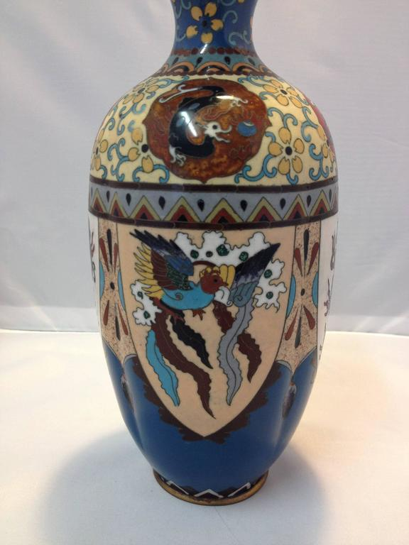 Stunning Pair Of Japanese Cloisonn 233 Dragon Vases From The