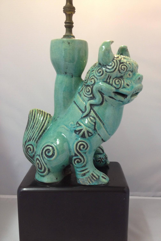 Vintage Ceramic Green Foo Dog Lion Lamp For Sale At 1stdibs
