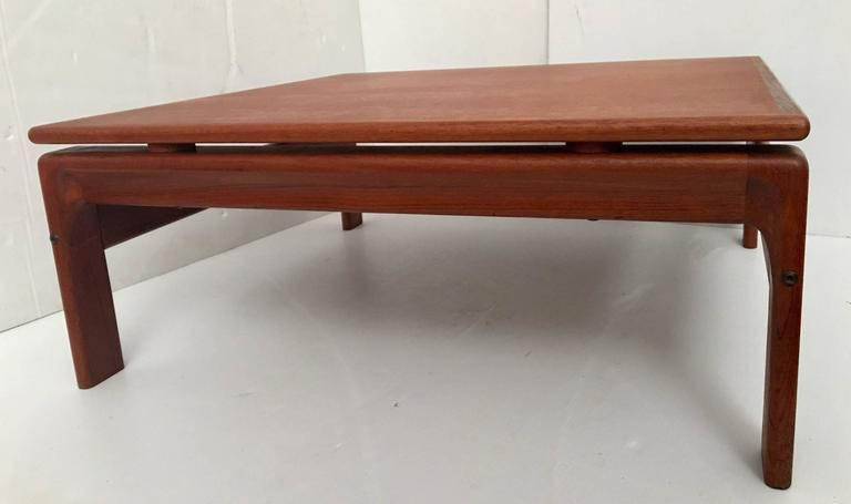 Danish Modern Teak Square Low Coffee Table By Komfort In Excellent Condition For San