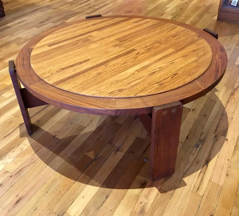 Mid Century Modern Massive Large Coffee Table By Lou Hodges California Design Walnut And Oak