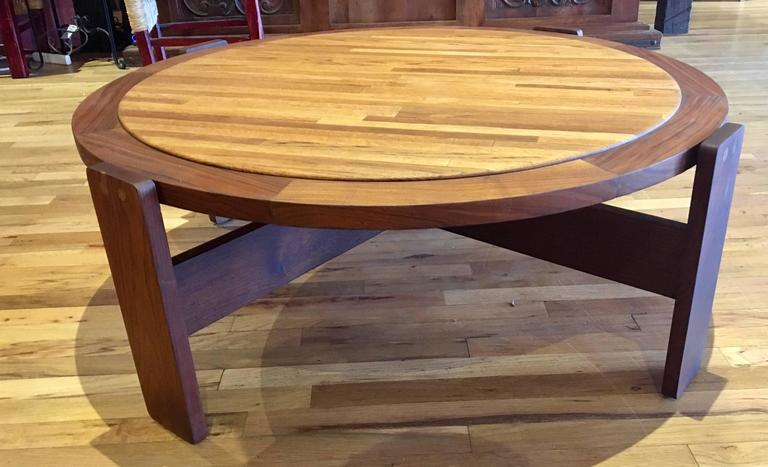 Massive Large Coffee Table By Lou Hodges California Design Walnut And Oak In Excellent Condition For