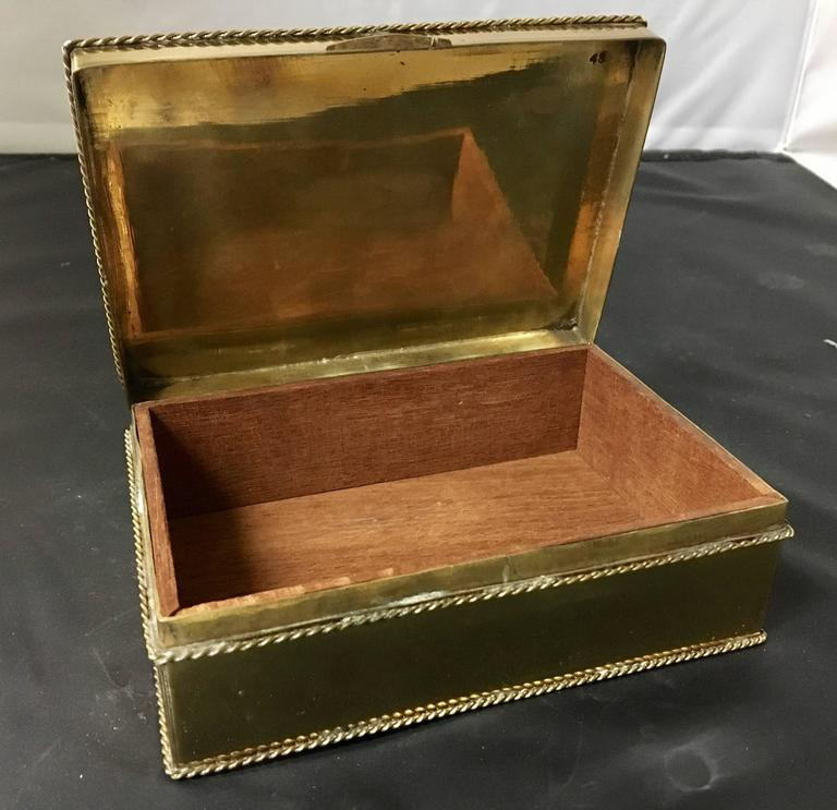 Indian Hollywood Regency Polished Brass and Mahogany Jewelry Box For Sale
