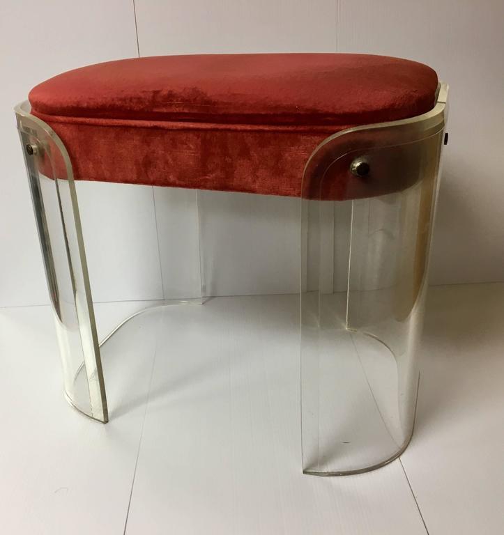 Solid lucite upholstered boudoir vanity stool at 1stdibs for Boudoir stoel