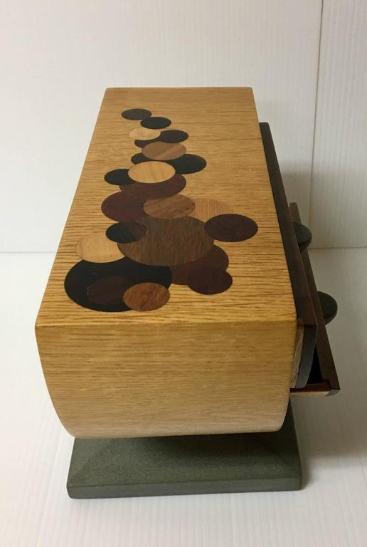 Handmade Mixed Woods And Slate Base Tabletop Jewelry Box 3