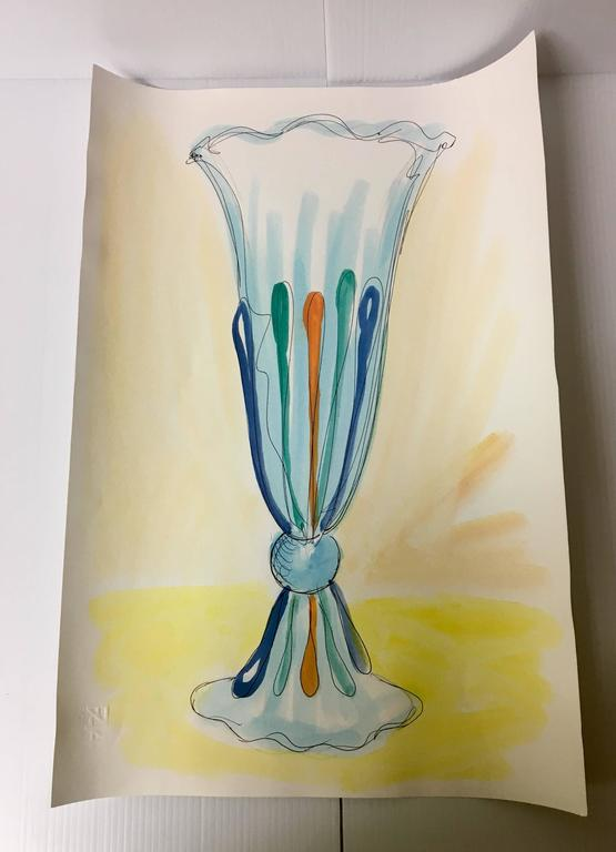 Magnificent extra tall italian murano glass vase by danilo