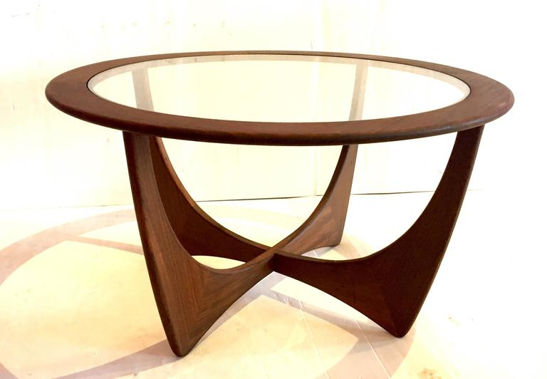 Danish Modern Walnut And Glass Atomic Round Coffee Table For Sale At 1stdibs
