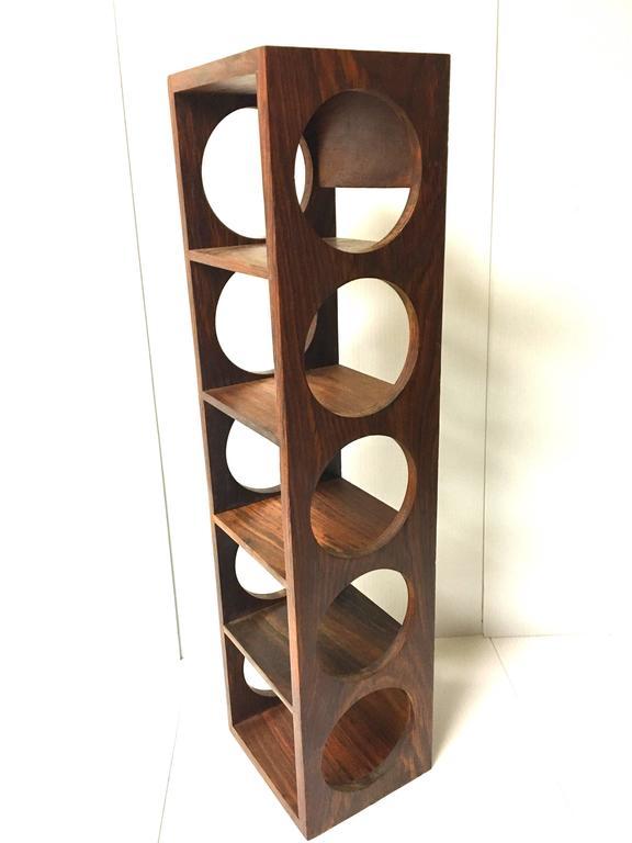 Danish Modern Five Bottle Solid Rosewood Wall Mounted Wine Racks For